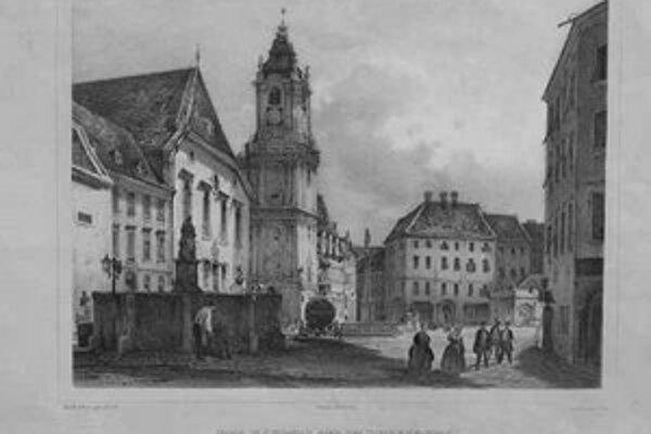 Rudolf Alt – Franz Xaver Sandmann: Hlavné námestie okolo roku 1850, kolorovaná litografia.