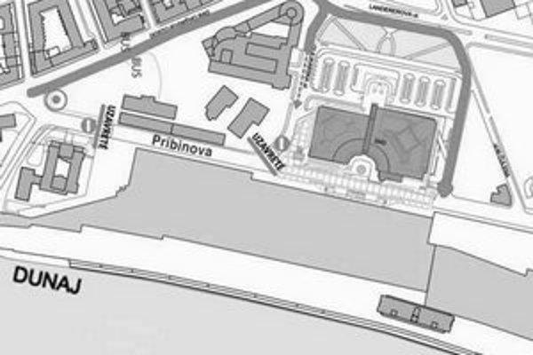 Mapka zobrazuje uzáveru na Pribinovej ulici a smery obchádzky pre návštevníkov nového divadla.