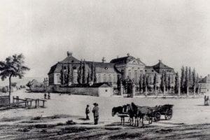 Grassalkovichov palác z prelomu 18. a 19. storočia ešte bez dnešnej Štefánikovej ulice.