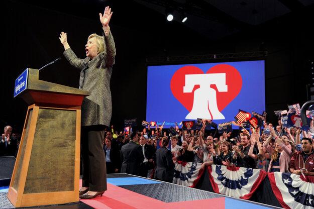 Hillary Clintonová po víťazstve v Pennsylvánii.