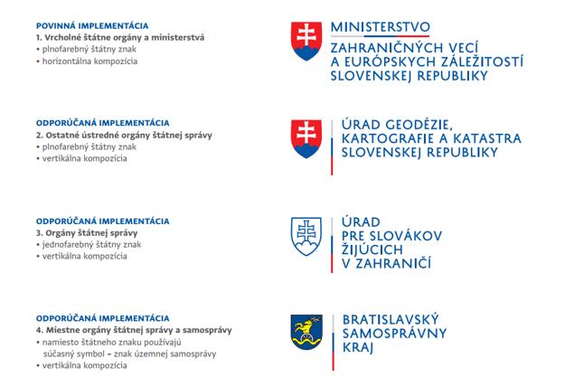 Jednotlivé logá štátnej správy.