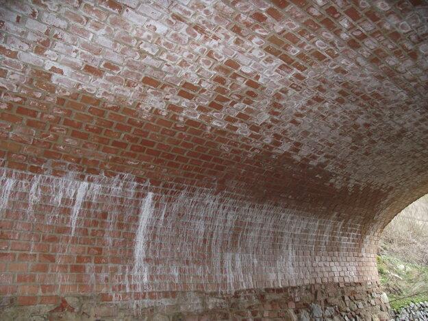 Vyplavené vápno je vidieť najmä na klenbách.