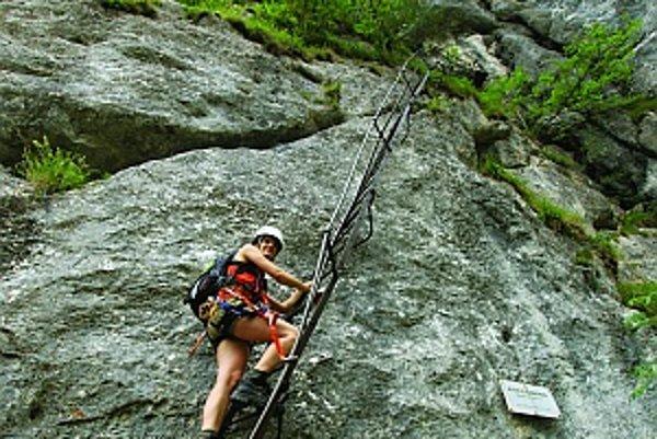 Úvodný rebrík jednej z najstarších zaistených ciest Alpenvereinsteig