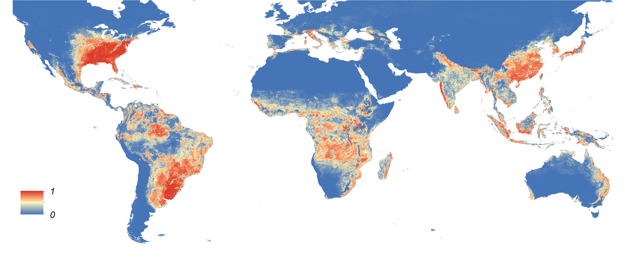 Mapa predpokladaného výskytu druhu Aedes Albopictus.