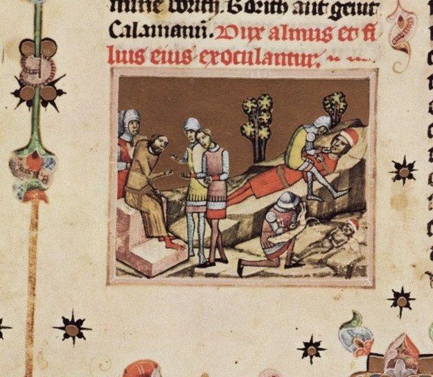 Oslepenie vojvodu Álmoša a jeho syna Bela, budúceho kráľa Bela II. Slepého. Ilustrácia pochádza z Viedenskej obrázkovej kroniky zo 14. storočia.