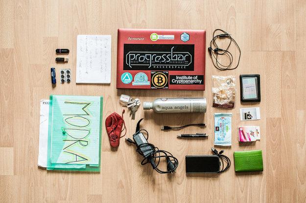 Dva USB kľúče, labello, krieda, papiere, notebook, slúchadlá, obal z parenice, labello, kľúče, fľaša, vlhčené utierky, Polaroidová fotografia, púzdro, nabíjačka, USB kábel, pero, telefón, peňaženka, kondómy.