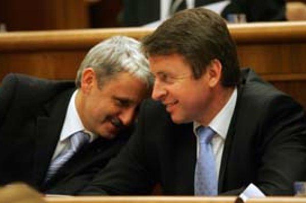 Mikuláš Dzurinda a Ivan Mikloš z SDKÚ boli včera v parlamentných laviciach spokojní.