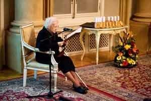 Predsedníčka Slovenskej organizácie Spravodlivých medzi národmi Anna Bandžáková - Kuchárová počas odovzdávania ocenení Spravodliví medzi národmi.