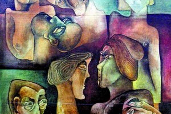 A. Sigetová, Hlavy, 1965, výrez, zo súkromnej zbierky.