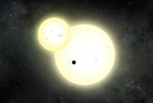 Umelecké zobrazenie exoplanéty Kepler-1647b a jej dvoch hviezd.