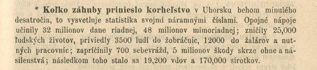 Článok o korheľstve zo Slovenského letopisu z roku 1876.