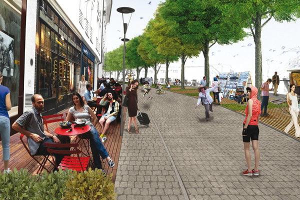 Vizualizácia Zámockej ulice v rámci projektu Art Street Zámocká.
