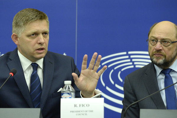 Robert Fico a predseda Európskeho parlamentu Martin Schulz.