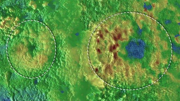 Údajné ľadové sopky trpasličej planéty Pluto. Modrá farba predstavuje nižší terén a hnedá vyšší.