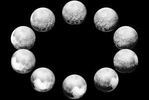 Snímka jedného dňa na Plute. Najlepšie obrázky každej strany Pluta vedci skombinovali, aby vytvorili pohľad na plnú rotáciu trpasličej planéty.
