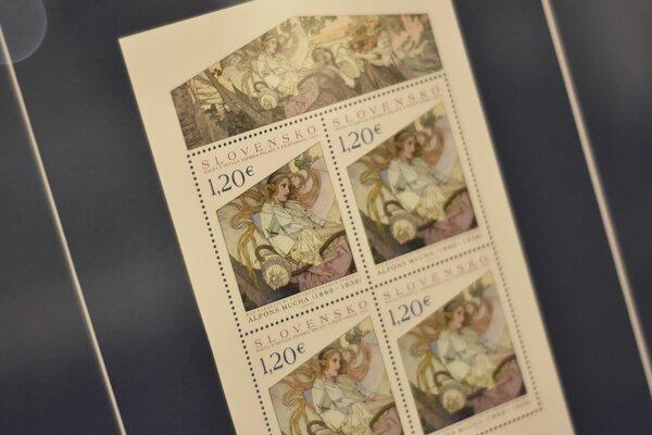 Poštová známka s  motívom od Muchu.
