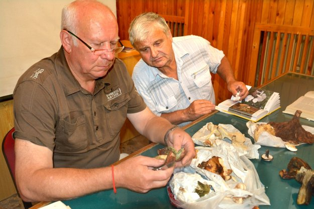 Ján Mariássy. Známy košický mykológ (vpravo) si prezerá pomerne zriedkavý hríb Quéletov.