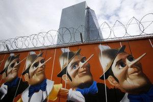 Graffiti Pinocchia na múre pred Európskou centrálnou bankou vo Frankfurte nad Mohanom.