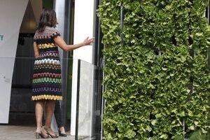 Určitý čas strávila prezeraním a diskusiou o vertikálnej záhrade, ktorá pokrývala celú dlhú stenu amerického pavilónu.