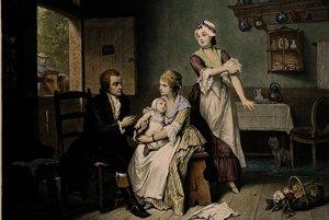 Edward Jenner očkuje svojho syna, obraz Edouarda Hammana.