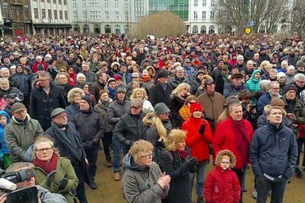 Demonštrácia bola najväčšou od protestov po kolapse islandského bankového sektora.