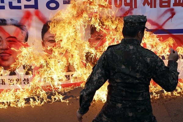 Protesty proti severekórejskej diktatúre sú v Soule bežné.