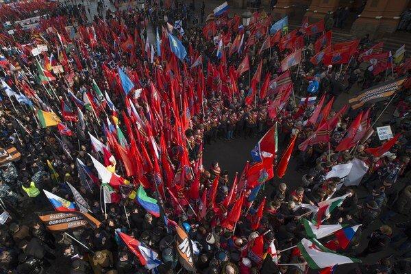 Protimajdanovské hnutie v Moskve.