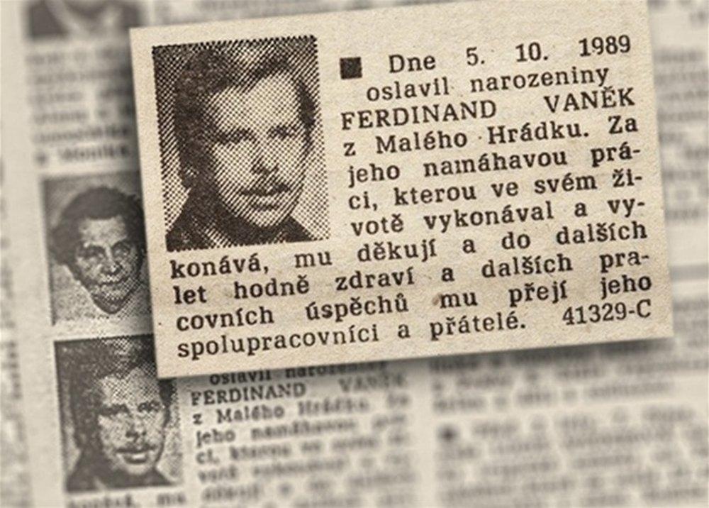 Narodeninový inzerát, ktorý do Rudého práva zadali Havlovi priatelia voktóbri 1989. Cenzúra vtedy zaspala.