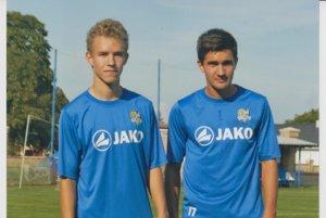 Talentovaní ruskí futbalisti vo farbách VSS Košice. Nikita Andrejev (vľavo) aSergej Ivanov.
