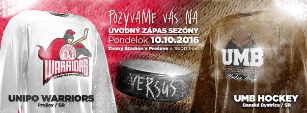 Prešovskí Warriors versus UMB Hockey Team z Banskej Bystrice.