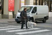 Nevidiaca žena na priechode.