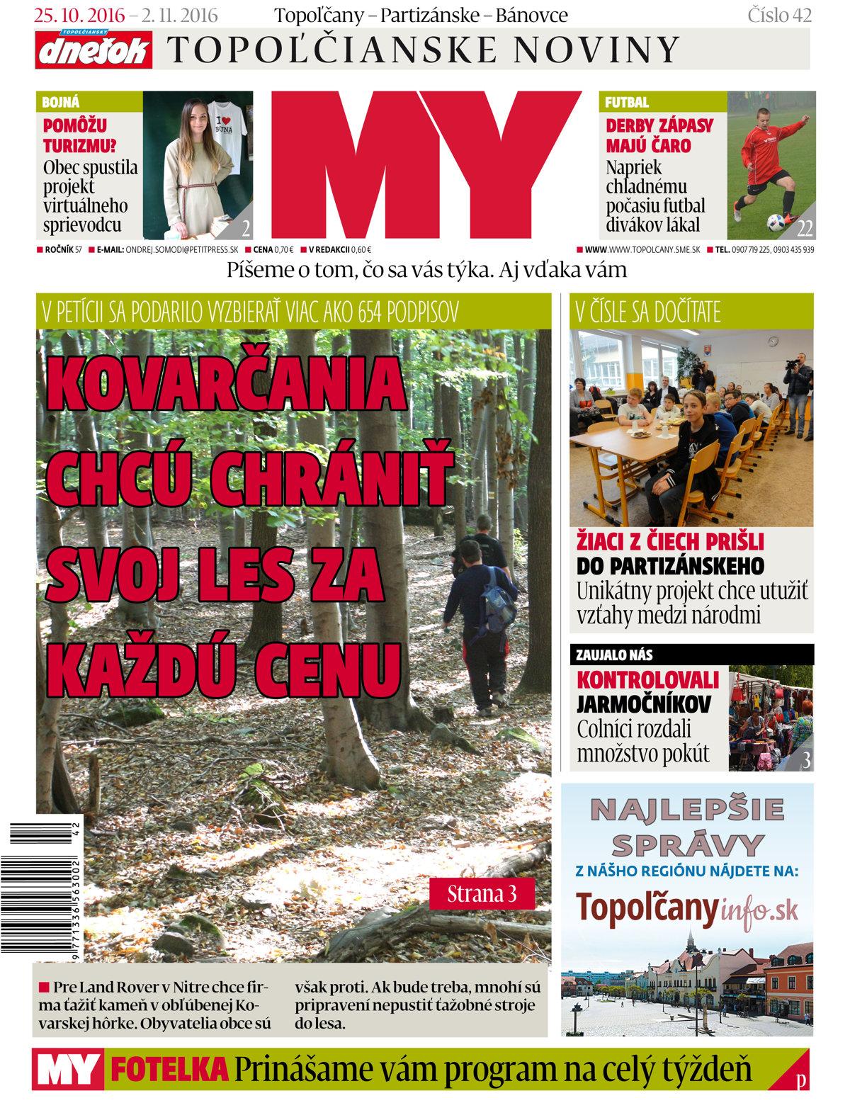 3b8e67389 MY Topoľčianske noviny Dnešok vyšli utorok