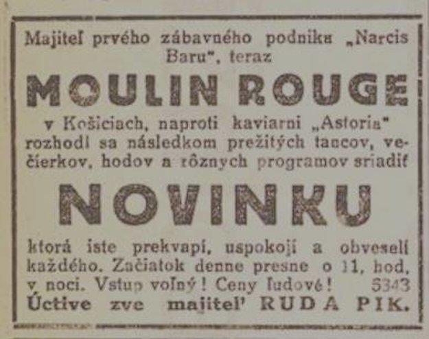 Bar Moulin Rouge -  reklama z 20. rokov 20. stor.