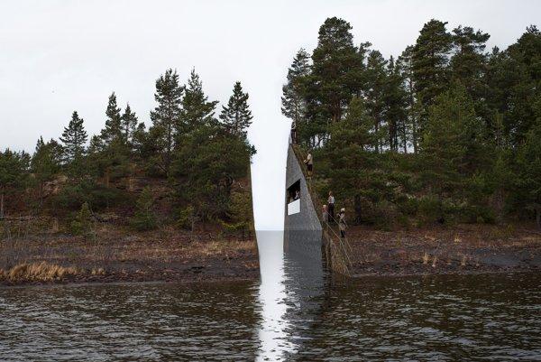 Pamätník k 22. júlu symbolizuje nezahojiteľnú ranu Nórov.