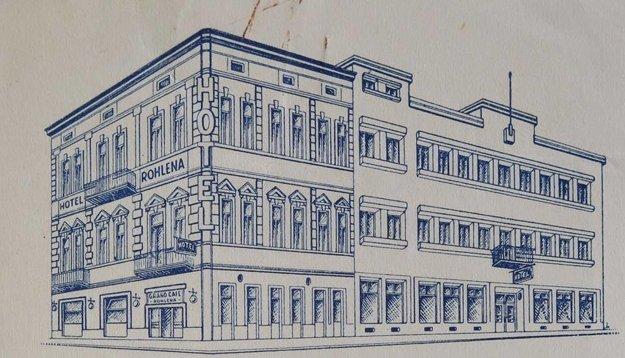 Hotel Rohlena na kresbe z roku 1937.
