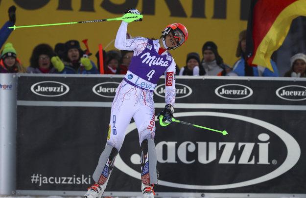 Radosť Petry Vlhovej po tom, čo prišla do cieľa v druhom kole.