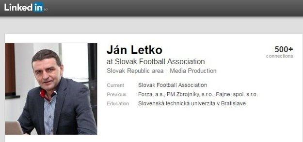 Sám Ján Letko si aj v súčasnosti uvádza, že pracuje na Slovenskom futbalovom zväze.