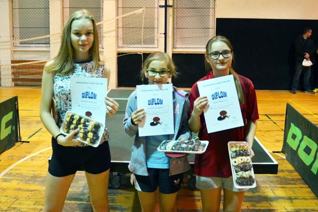 Najlepšie na turnaji dievčat. Zľava strieborná Kristína Zrubcová, v strede zlatá Svetlana Sorádová a vpravo bronzová Timea Rimešová.