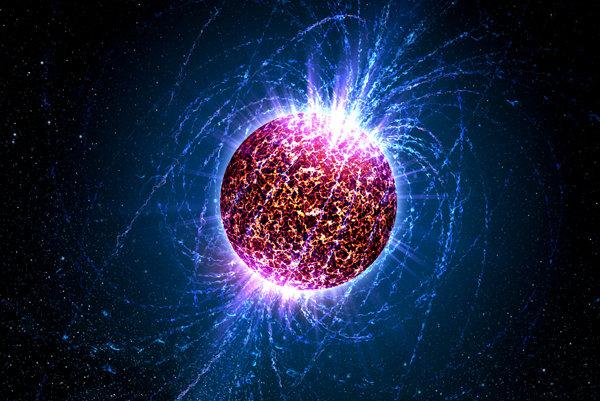 Ilustrácia neutrónovej hviezdy.