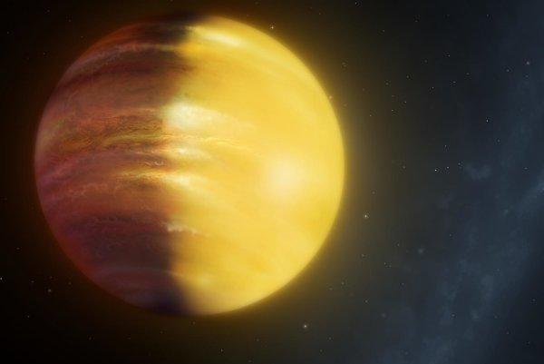 Vizualizácia exoplanéty HAT-P-7b, na ktorej prvýkrát pozorovali počasie mimo Slnečnej sústavy.