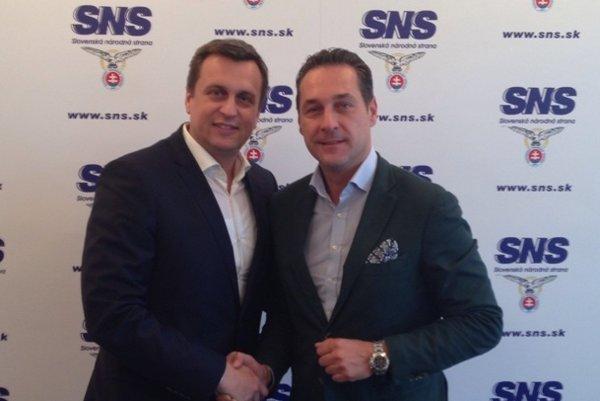 Andrej Danko a Heinz-Christian Strache na stretnutí.