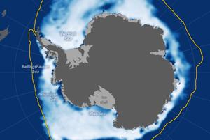 Koncentrácia morského ľadu v novembri 2016 v porovnaní s historickým mediánom.