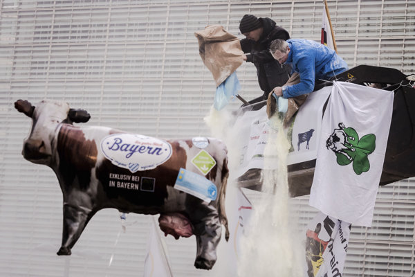 Protest mliekarov v Bruseli.