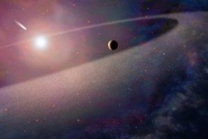 Umelecké zobrazenie mohutného telesa, ktoré pripomína kométu a padá k bielemu trpaslíkovi.
