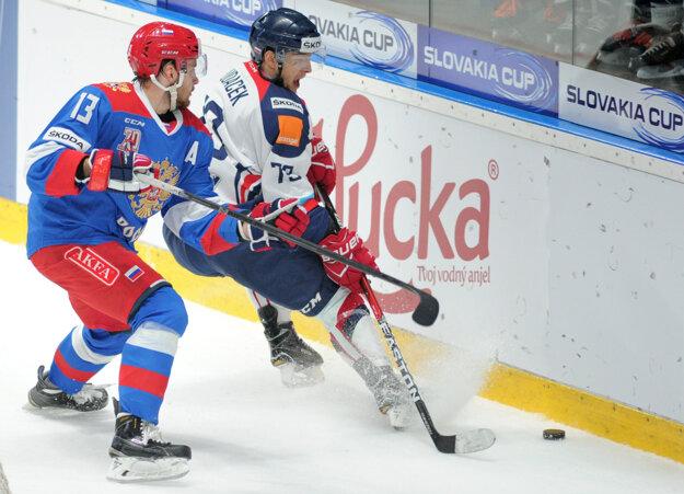 Libor Hudáček (vpravo) strelil proti Rusku svoj štrnásty gól v reprezentačnom drese.