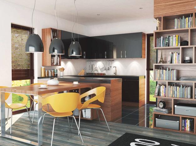 Kuchyňa so šikmým prepojením s exteriérom pre rýchly kontakt so vstupom do domu či vstupom na pozemok.