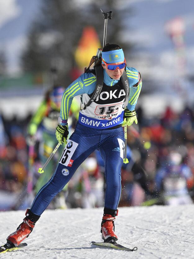 Kazašská biatlonistka Oľga Poltoraninová.