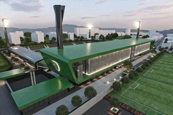 Vizualizácia nového štadióna ipriľahlej plochy. Stánok Tatrana bude zaradený do 3. kategórie UEFA.