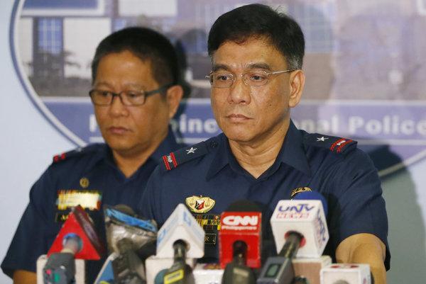 Hovorca filipínskej polície pred novinármi (ilustračné foto).