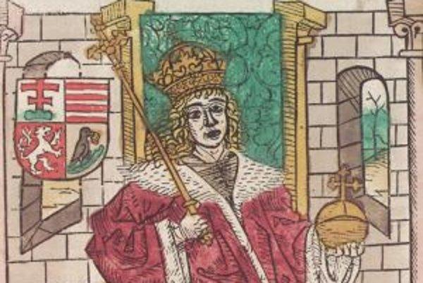 Vyobrazenie Mateja Korvína v Kronike Uhrov od Jána z Turca (1488).